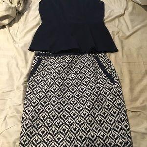 Navy blue peplum shirt with patterned pencil skirt